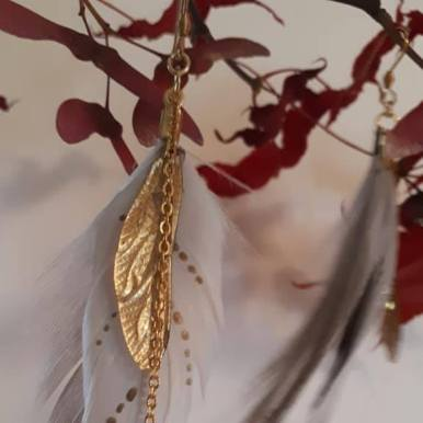 Duck Feather & Dragon Fly earrings