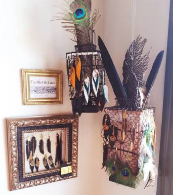 Feather & Lace display